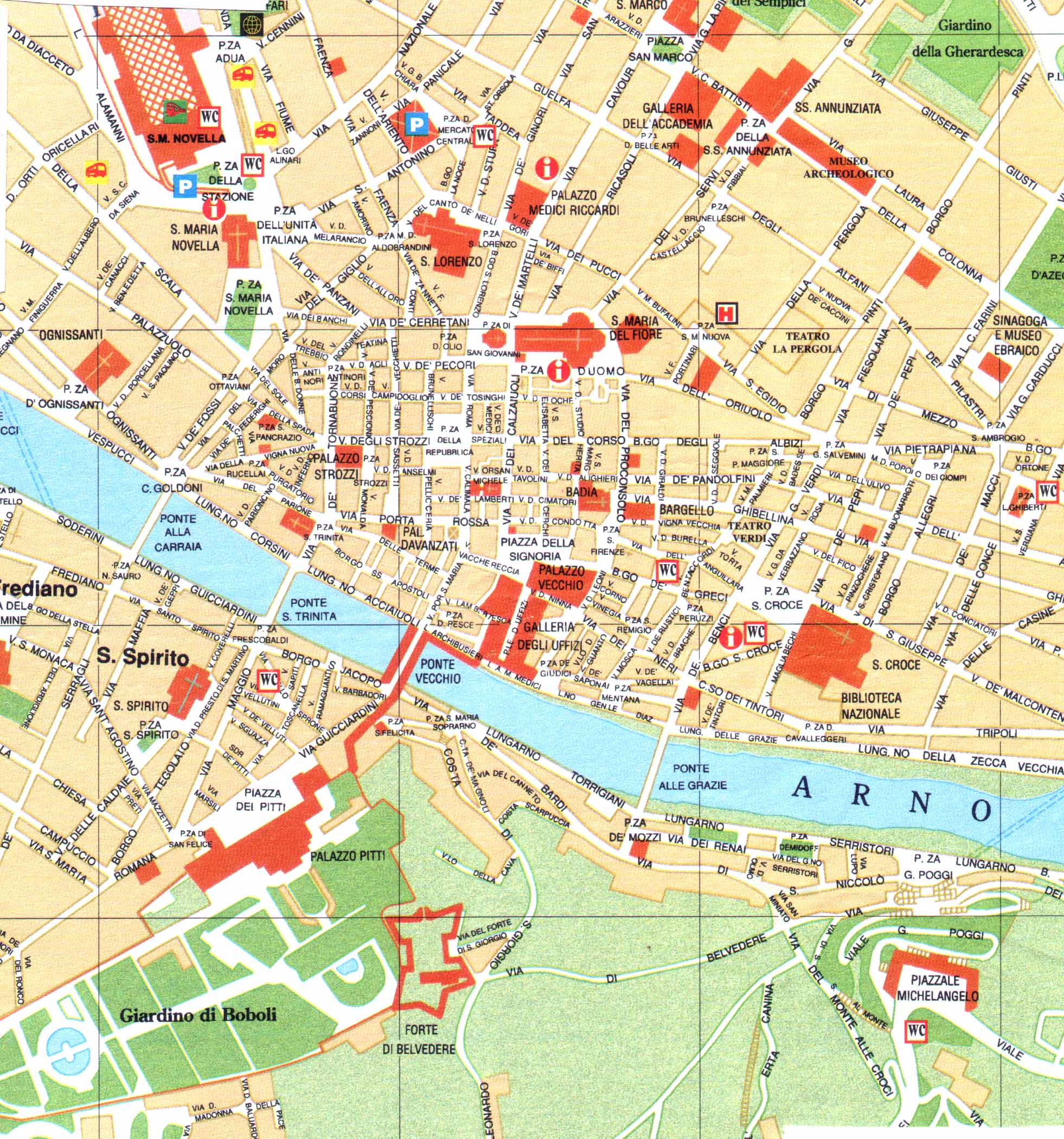 Florence map large map of Florence Italy – Florence Italy Tourist Map